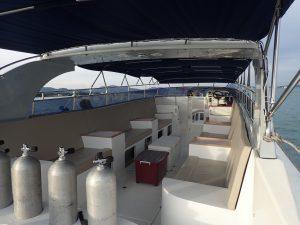 Seating area inside Diamond Luxury Speedboat
